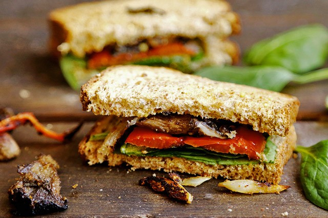 Roasted Bell Pepper, Onion and Mushroom Sandwich