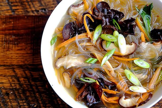 Shiitake Mushrooms and Sweet Potato Noodle Soup
