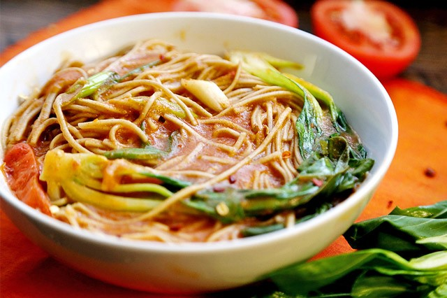Thick Tomato Soba Noodle Soup with Bok Choy