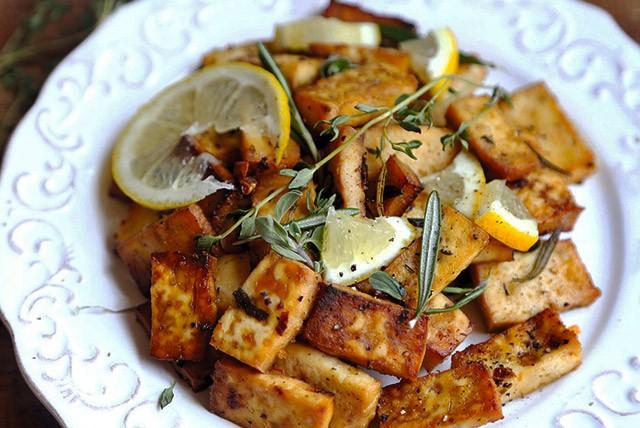 Lemon Herb Baked Tofu