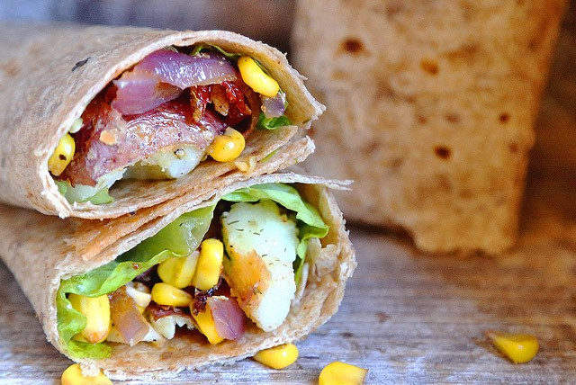 Potato, Corn and Onion Tortilla Wraps with Sundried Tomatoes