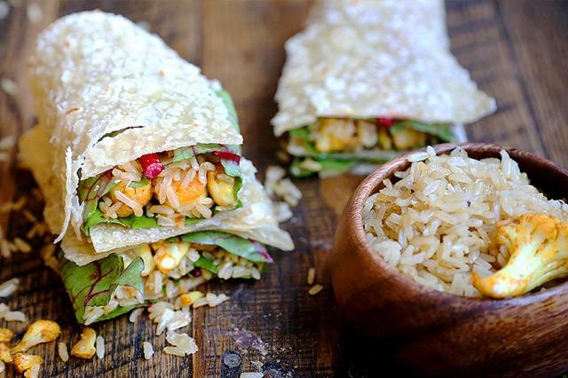 Fragrant Garlic Rice and Spicy Curried Cauliflower Wraps