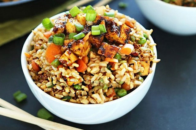 Vegan Fried Rice with Mock Meat and Egg